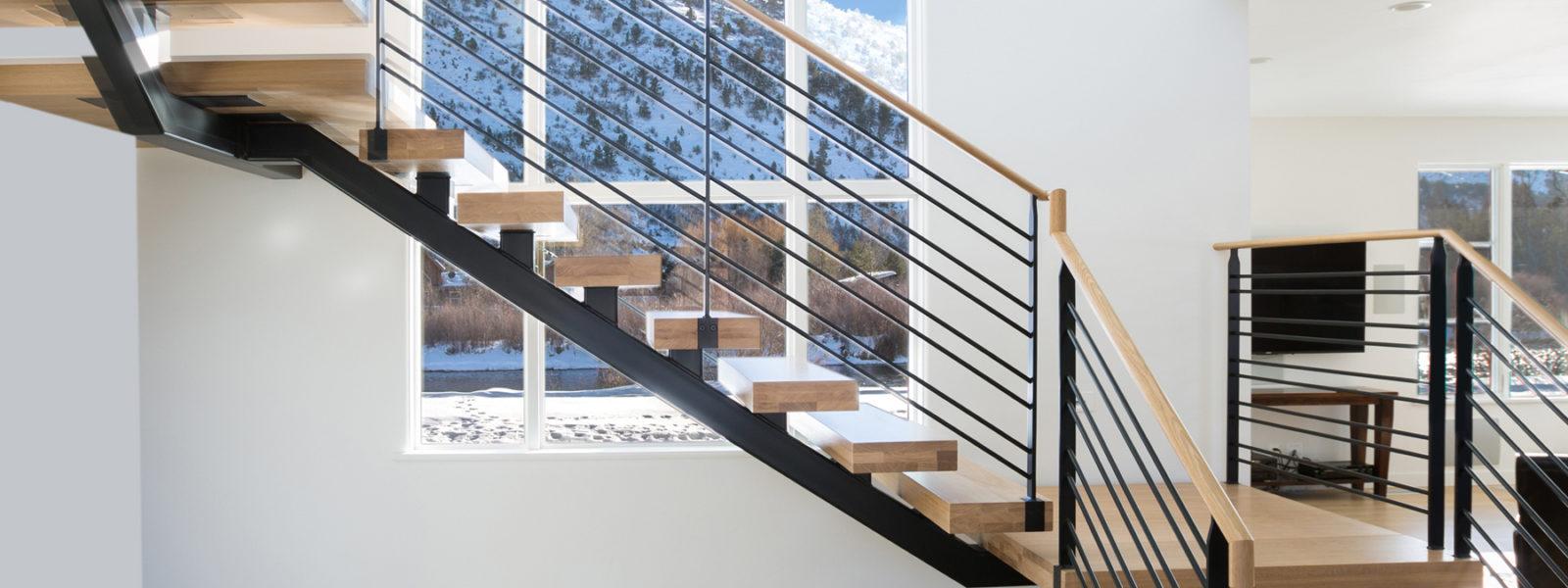 Modern Mono Beam Stairway in Aspen, Colorado by Arcways Custom Stairs
